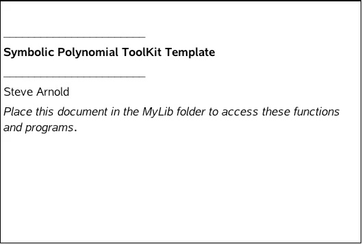 Polynomial Toolkit For Ti Nspire
